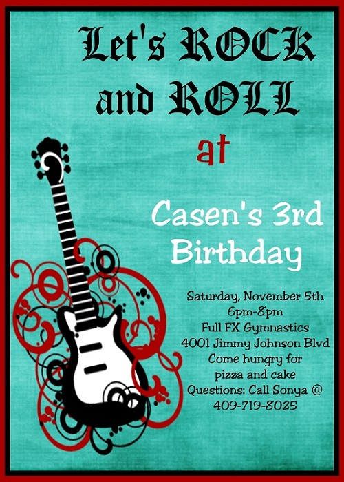 Boys Rockstar Guitar Birthday Party Invitations - Printable or Printed