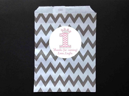Pink and Grey Chevron Party Favor Bags and Personalized Stickers
