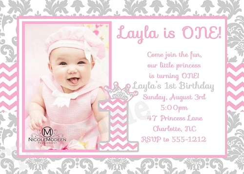 Chevron Damask 1st Birthday Invitations