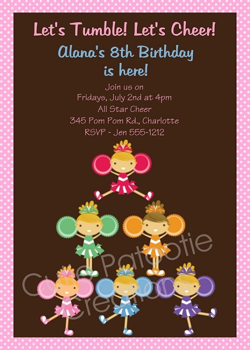 Cheerleading Cheer Birthday Party Invitations