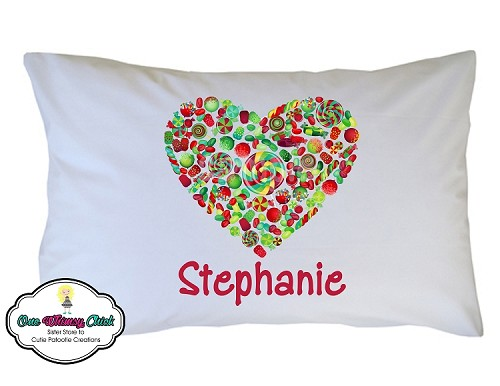 Personalized Christmas Candy Heart Pillow Case for Kids, Adults and Toddler