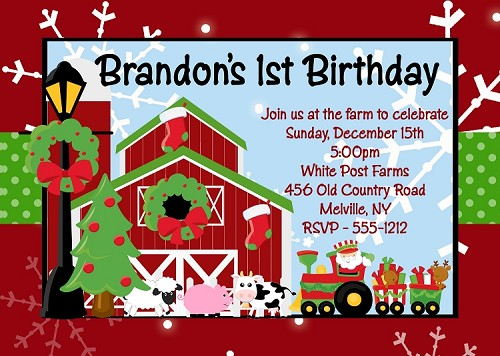 Christmas Farm Birthday Invitations