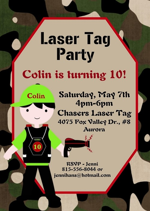 Airsoft Nerf Gun | Laser Tag Invitations - Printable or Printed