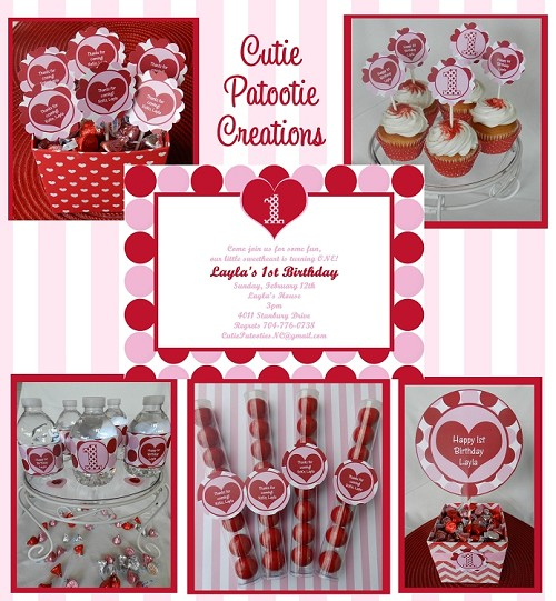 Valentine's Day Birthday Printable Party Package, Birthday Invitations and Decorations