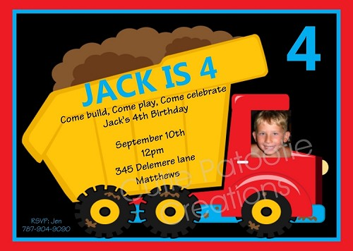 Dump Truck Photo Invitations - Printable or Printed