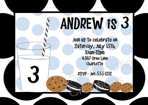 Cookies and Milk Birthday Invitations for Boys
