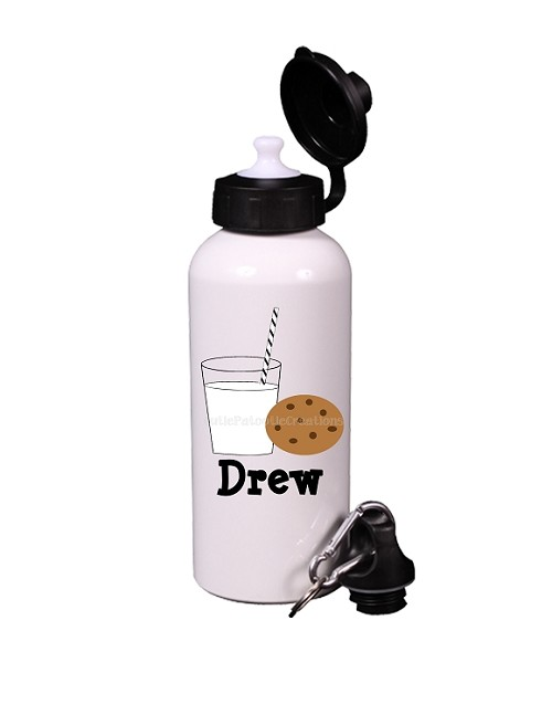 Milk and Cookies Aluminum Water Bottle, Personalized Sports Bottles