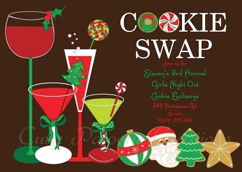 Cookie Swap Invitation for Christmas Holiday Party - Printable or Printed