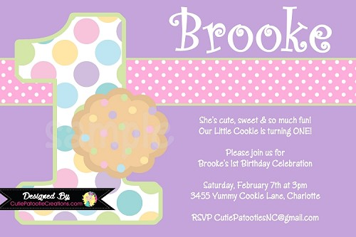 Cookie Birthday Party Invitation