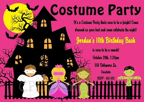 Halloween Costume Party Invitations in Pink - Printable or Printed