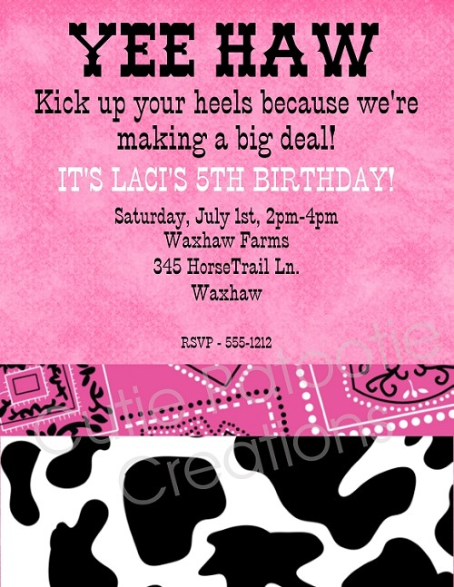 Pink Cow Print Birthday Party Invitation, Printable or Printed