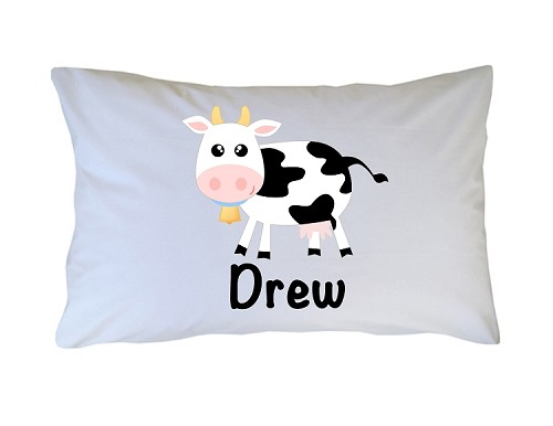 Personalized Cow Print Pillow Case for Kids, Adults and Toddler
