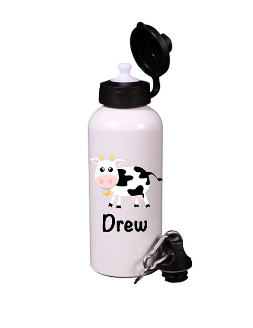 Cow Farm Animal Aluminum Water Bottle, Personalized Sports Bottles