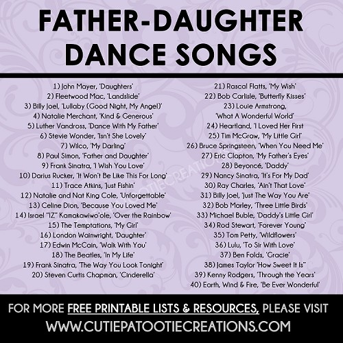 Father Daughter Dance Songs For Mitzvahs And Weddings Free