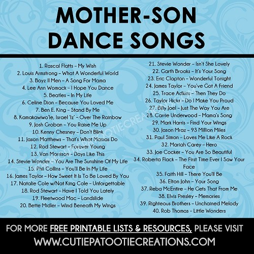 Mother Son Dance Songs For Mitzvahs And Weddings Free Printable List