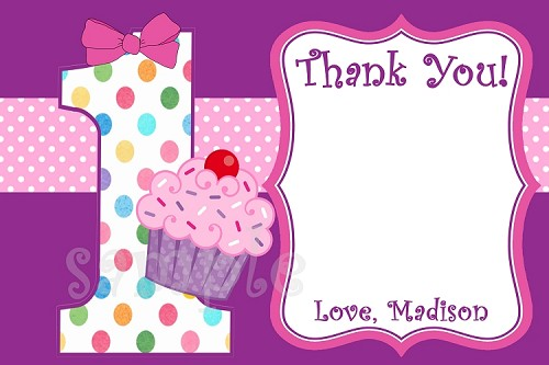 Cupcake Thank You Cards - ANY NUMBER CAN BE DONE