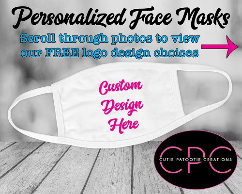 Personalized Face Mask with ANY Design for Mitzvahs and Weddings