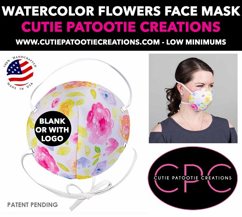 Watercolor Flowers Face Mask - Face Mask - Face Cover - Personalized or Blank