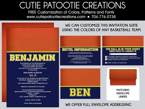 Basketball Bar Mitzvah Invitations - Customized Using the Colors of Any Team