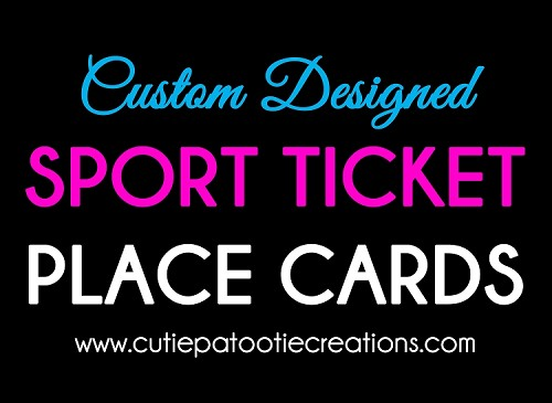 Custom Designed Sports Ticket Place Cards Made to Match Your Theme