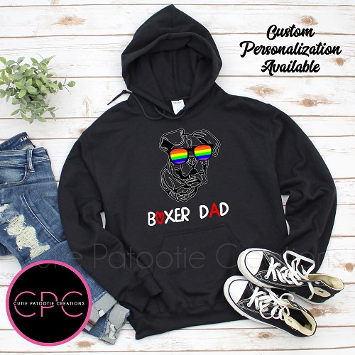 Personalized Boxer Dog Dad Sweatshirt with or without Rainbow Pride Sunglasses