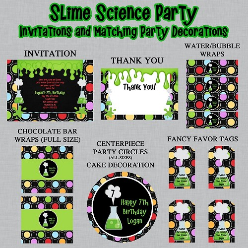 Science Theme Printable Party Package - Mad Scientist Birthday Invitations and Party Decorations