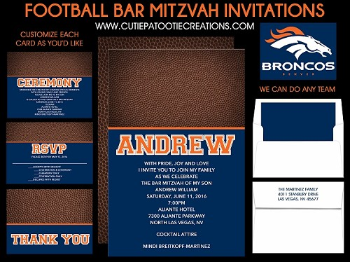 Football Theme Bar Mitzvah Invitation in Denver Broncos Team Colors