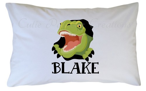 Personalized T-Rex Dinosaur Pillow Case for Kids, Adults and Toddler
