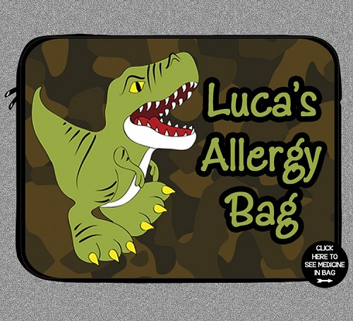 Personalized Dinosaur Allergy Medicine Bag - EpiPen, Auvi-Q