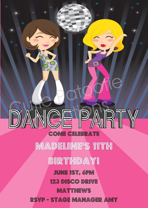 Disco Diva Dancers Glamour Girls Birthday Party Invitations - Printable or Printed