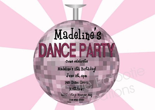 Girl's Disco Ball Dance Party Birthday Invitations - Printable or Printed