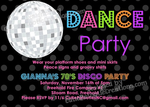 70s, 80s and 90s Disco Dance Party Birthday Invitations - Printable or Printed