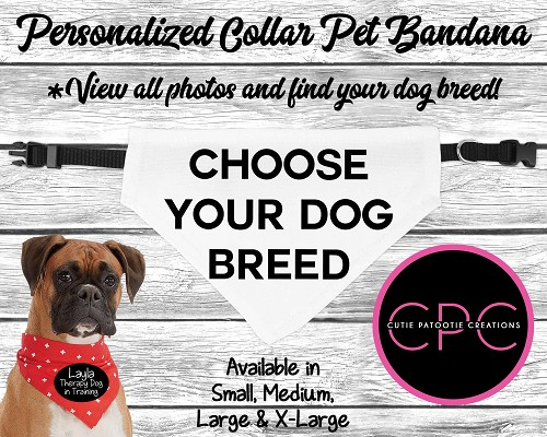 Personalized Over the Collar Dog Bandana - Choose Your Dog Breed with or without Sunglasses