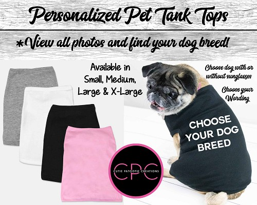 Dog Muscle Tank Top Personalized with Your Dog Breed with or without Sunglasses