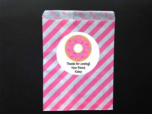 Donut Party Favor Bags and Personalized Stickers