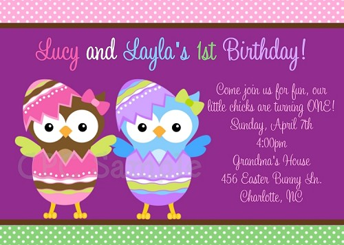 Easter Owl Birthday Invitation for Twins or Siblings