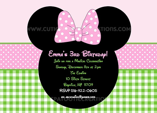 Easter Theme Mouse Ears Birthday Party Invitations