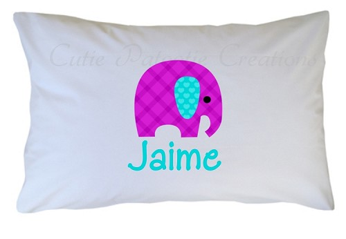 Personalized Elephant Pillow Case for Kids, Adults and Toddler