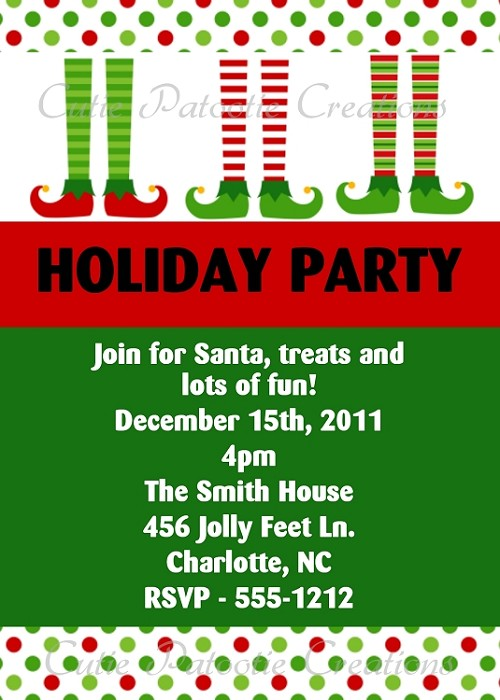Elf Feet Christmas Holiday Party Invitation - Printable or Printed