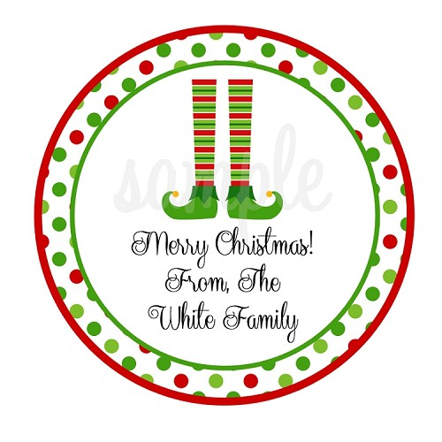 Personalized Elf Feet Christmas Stickers, Holiday Gift Tags