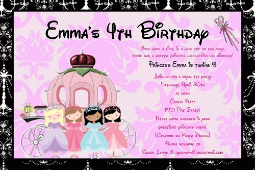 Princess Carriage Party Invitations - Printable or Printed