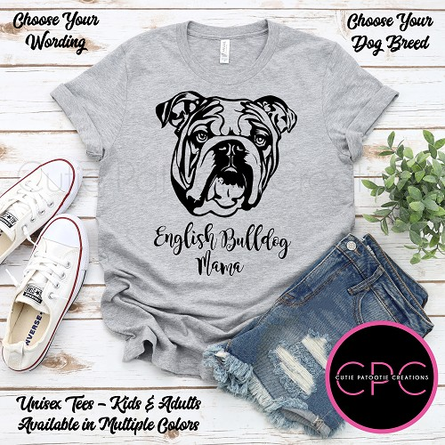 Personalized English Bulldog T-Shirt, English Bulldog Dad Shirt, Unisex Tees with or without Sunglasses