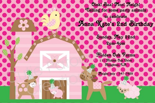 Pink Farm Birthday Party Invitations