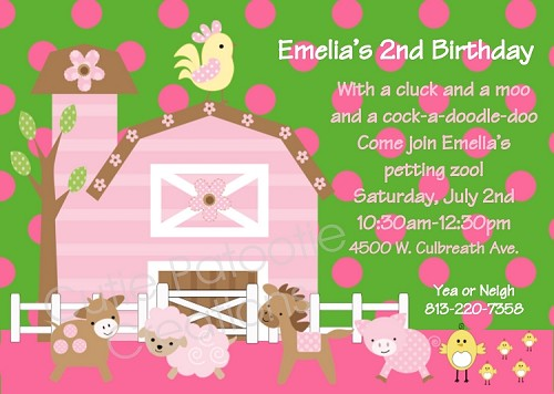 Pink Farm Birthday Invitations  - Printable or Printed