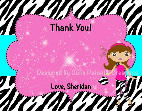 Fashion Show Glamour Girl Thank You Cards