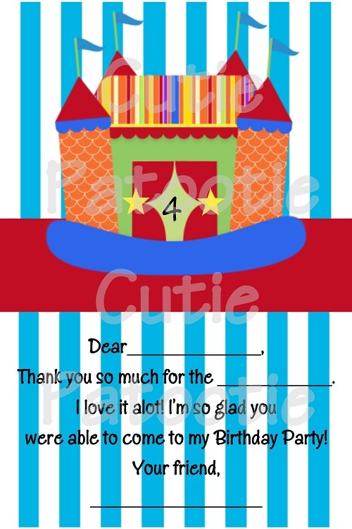 Bounce House Thank You Note Card