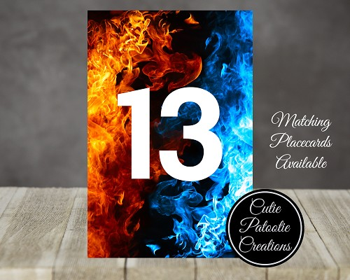 Fire and Ice Table Number Cards - Matching Place Cards Available