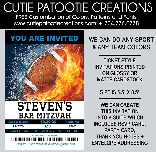 Football Sports Ticket Bar Mitzvah Invitation - We can do ANY SPORT - Any Team Colors