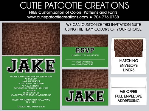 Football Bar Mitzvah Invitations - Customize with your favorite Team Colors