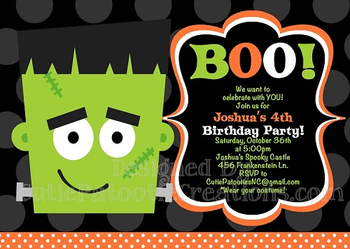 Frankenstein Halloween Party Invitations - Printable or Printed